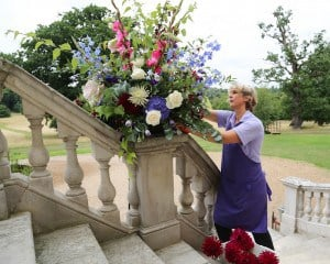 Louise Avery, flower arranging on site. Botleys Mansion