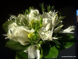 brides bouquet of winter white flowers, winter wedding