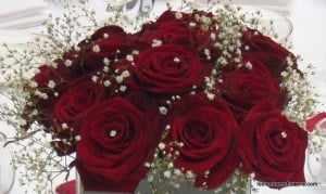 red roses and gypsophlia. Winter wedding