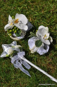 bridesmaids orchid wrist corsages & flower girl fairy wand