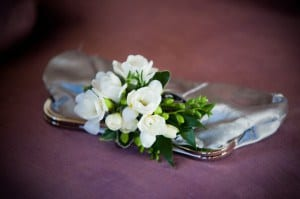 silver handbag clutch purse with white freesia spray. Winter Wedding