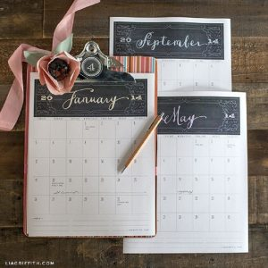 Calender pages, wedding florist