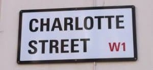 charlotte street, London W1- road sign
