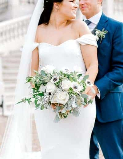 Bride and groom with brides bouquet