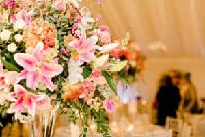 West-Sussex wedding flowers tall table vase close up