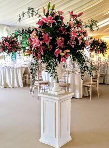 West-Sussex wedding flowers pink urn arrangement on plinth