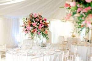West-Sussex wedding flowers tall table vases