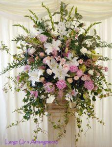 urn & plinth arrangement. Summer seasonal wedding flowers