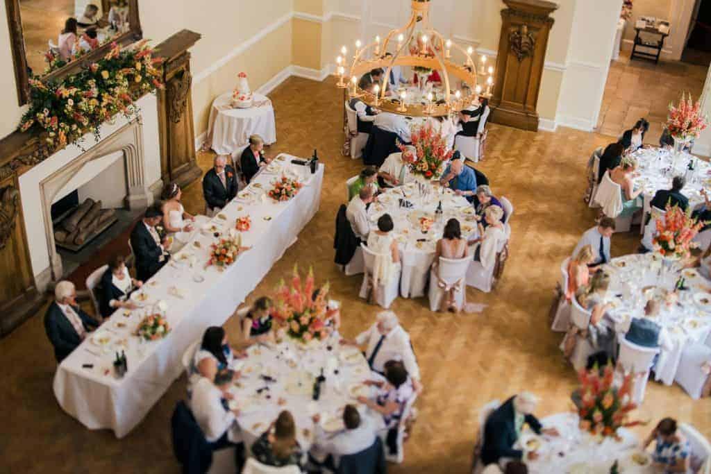 The Great Hall wedding breakfast. Farnham Castle Weddingss