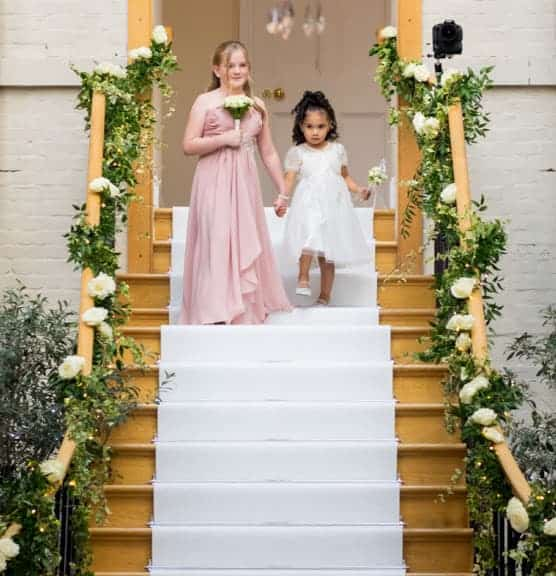 flower girls with posy and flower wand