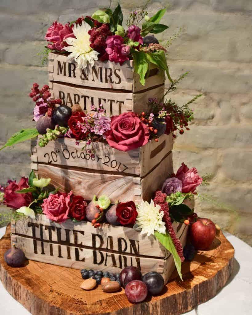 Tartufi Wedding cake decorated with Louise Avery FlowersLouise Av