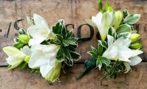Springtime wedding flowers for April, Mothers freesia corsage