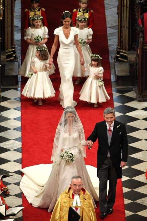 Duchess of Cambridge walking up the aisle on her wedding day