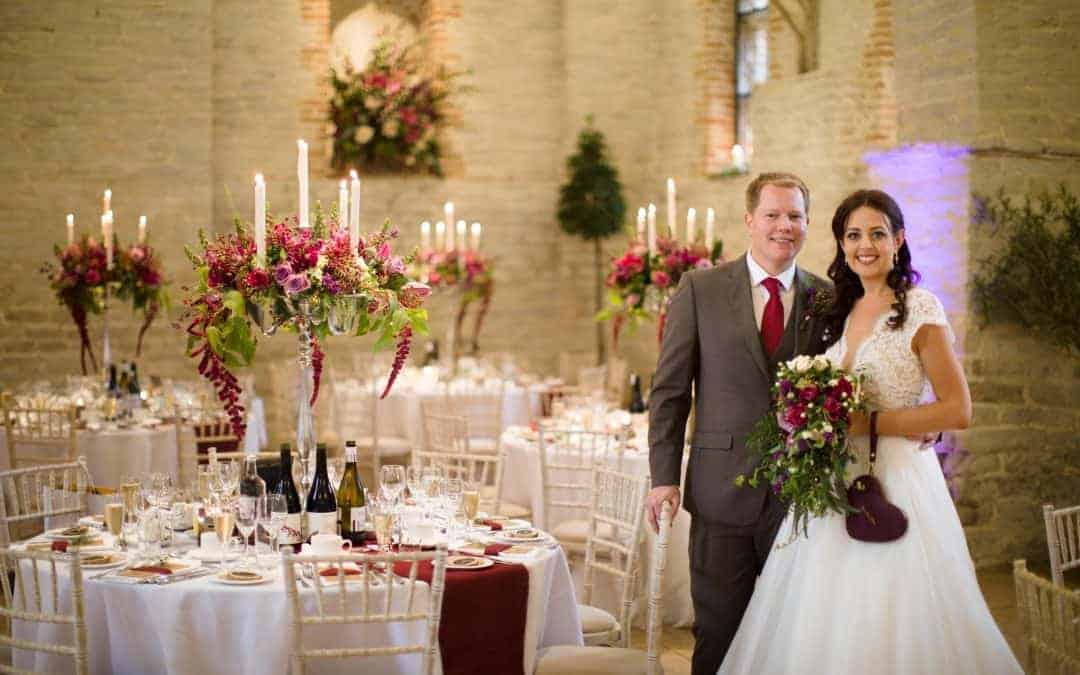 Luxury Hampshire Wedding Florist- Creating a stunning Tithe Barn Autumn Wedding for Steph and Dave