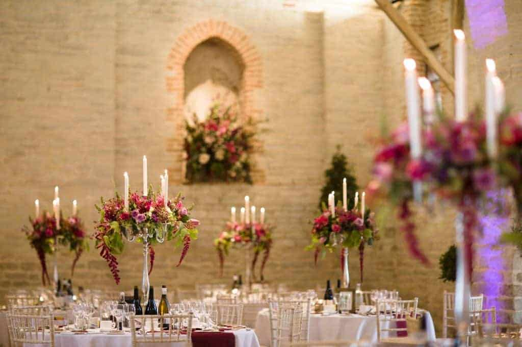 Luxury Hampshire wedding flowers - table floral candelabra