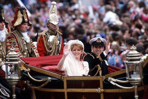 Prince Andrew Sarah Ferguson Wedding Day in Carriage procession