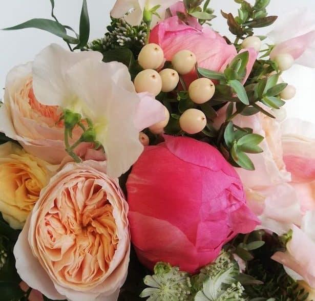 hampshire florist bouquet of coral colours