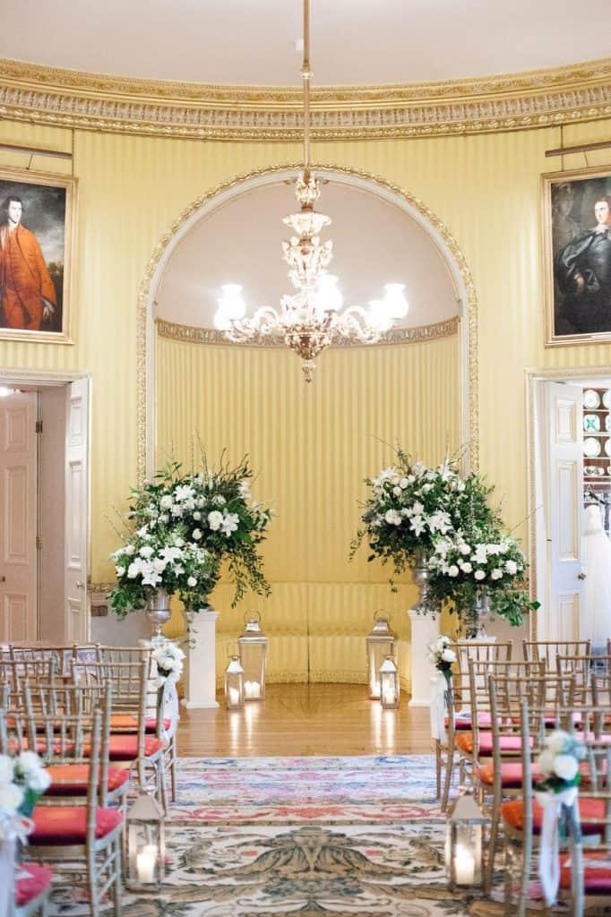 Ceremony urn arrangements, plinths, lanterns and candles