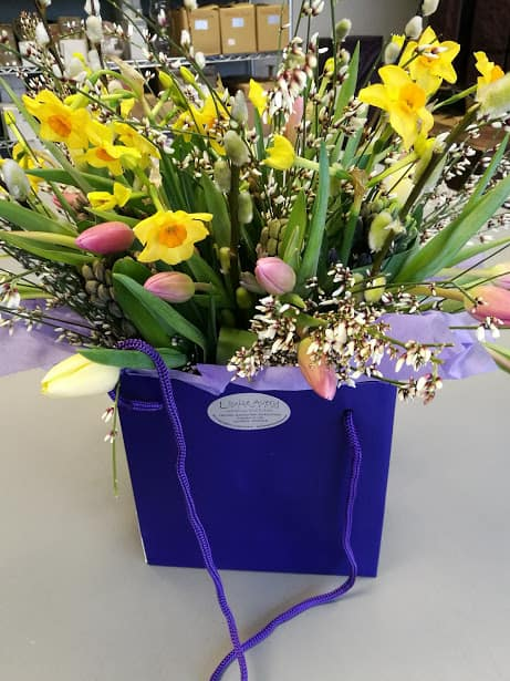 Hampshire florist spring flower bouquet in paper gift bag
