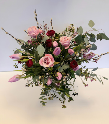 Pretty mixed pink spring flower bouquet