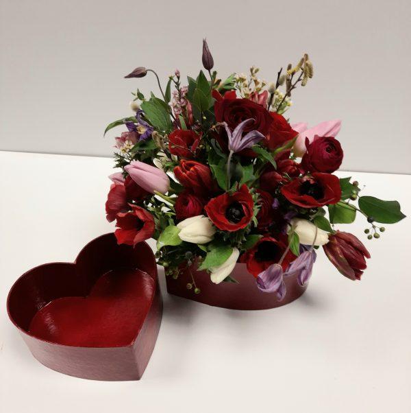 Fresh flower filled Valentines Heart box