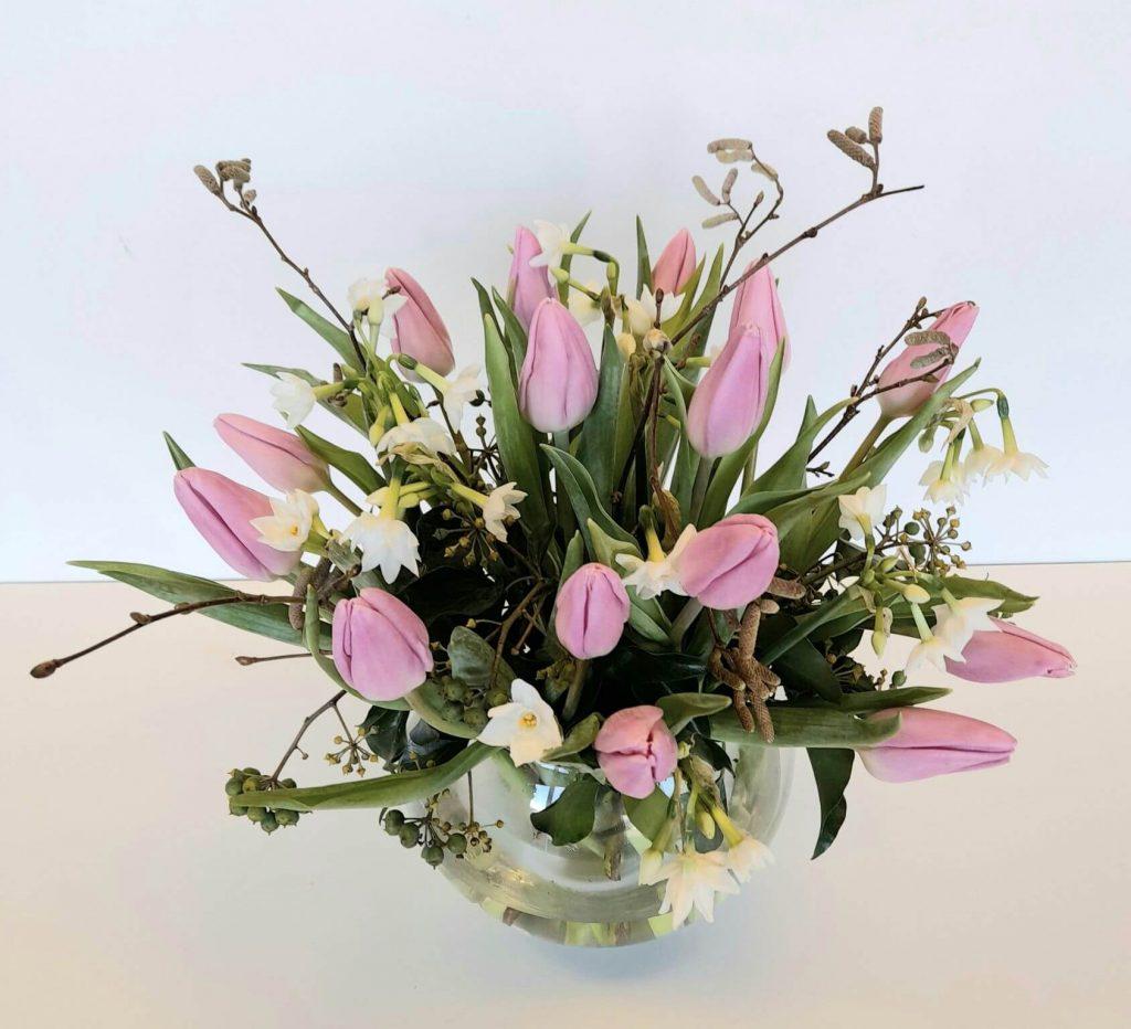 pink tulip vase