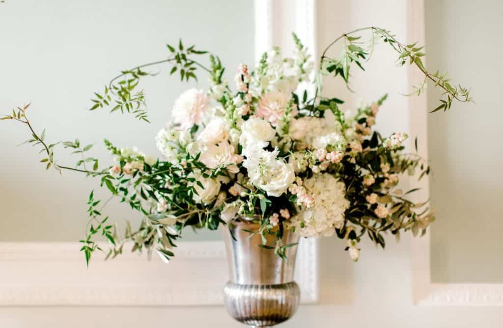 hampshire weddings - silver urn of white flowers
