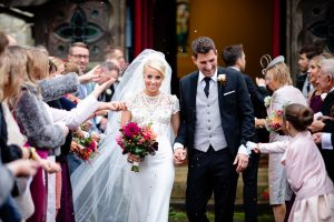 Bride-and-groom-coming-out-of-the-church-after-the-ceremony